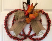 Fall wreath, Grapevine pumpkin wreath, halloween wreath, fall grapevine wreath, covered with orange berries. Front door wreath home decor