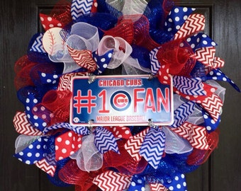 Chicago Cubs Deco Mesh Wreath, Cubs deco mesh wreath, Chicago Cubs mesh wreath, MLB wreath, Chicago cubs wreath