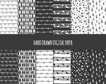 Hand Drawn Digital Paper: Tribal, Geometric, Doodles; Seamless Patterns; Printable Scrapbook Paper; Web & Print Background; Black and White
