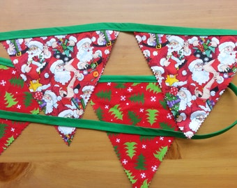 Christmas Banner, bunting, 100% cotton fabric, double sided, Christmas trees, santa clauses, decoration