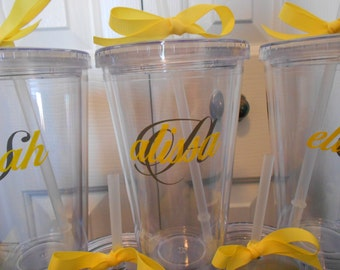 Monogrammed Bridesmaids Gifts - Customized Tumblers - Yellow and Gray - Choose your colors - Summer Wedding