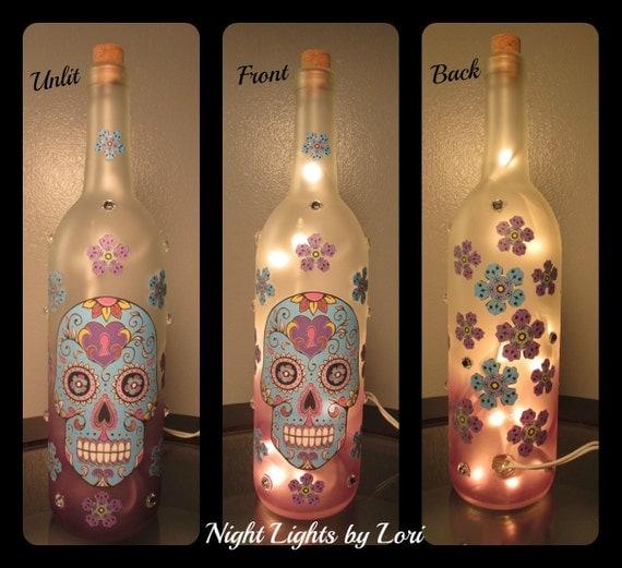 Skull Wine Bottle Night Light