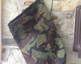 Swedish Vintage Military Camouflage Sack Bag