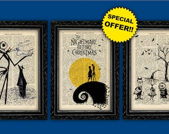 Jack Skellington Prints Tim Burton Book Art Print Pack Nightmare Before Christmas Book Art Gift Dorm Room Print Wall Dictionary black friday