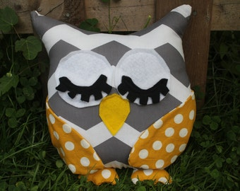 Grey chevron/yellow polka dot stuffed sleepy owl/plushie/pillow/nursery decor