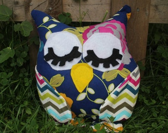 Blue flowered/chevron stuffed sleepy owl/pillow/plushie/nursery decor