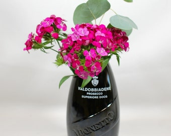 Slant-cut Mionetto Valobbiadene Vase - Handcrafted from a Recycled Prosecco Bottle