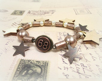 Stars N' Steam Beaded, Charm Steam Punk Bracelet