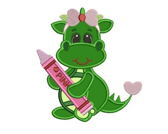 Cute Girl  Dino Applique Machine Embroidery Digitized  Design Pattern - Instant Download - 4x4, 5x7, 6x10