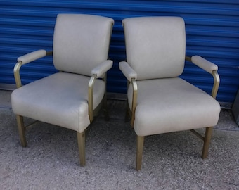 Pair of mid century goodform aluminum office or home chairs retro white