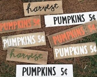Pumpkins - harvest - rustic fall decor - pumpkin sign