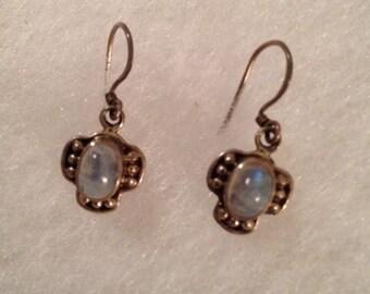 Natural Rainbow Moonstone Sterling Silver Earrings