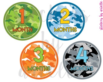 Month by Month Baby Boy Stickers - Camo / Camouflage