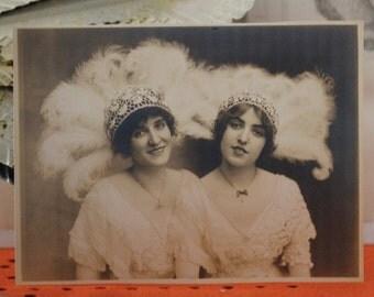 "Original 9 1/4"" X 7"" Photograph Two Vaudville Show Girls Sepia"