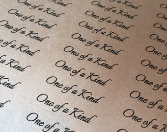 "80 ONE OF A KIND stickers- thank you labels on Kraft brown 1/2"" x 1 3/4 inch- wedding labels, party favors stickers"