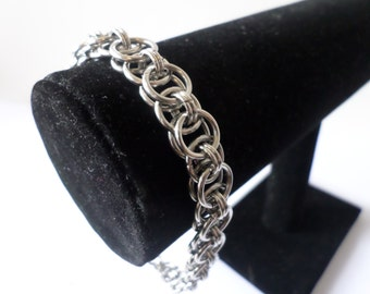 Stainless Steel Helm Weave Chainmail Bracelet - Chunky Chainmaille Biker Bracelet