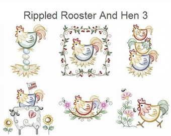 Rippled Rooster And Hen 3 Machine Embroidery Designs Instant Download 4x4 5x5 6x6 hoop 10 designs APE2176