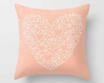 Peach Heart Pillow With Insert - Modern Heart Pillow Cover - Hearts Nursery Pillow Cover - Decorative Pillow Cover - Home Decor