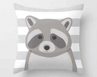 Raccoon Pillow Cover With Gray and White Stripes - Woodland Animal Pillow Cover - Nursery Pillow Cover - Home Decor - Aldari Home
