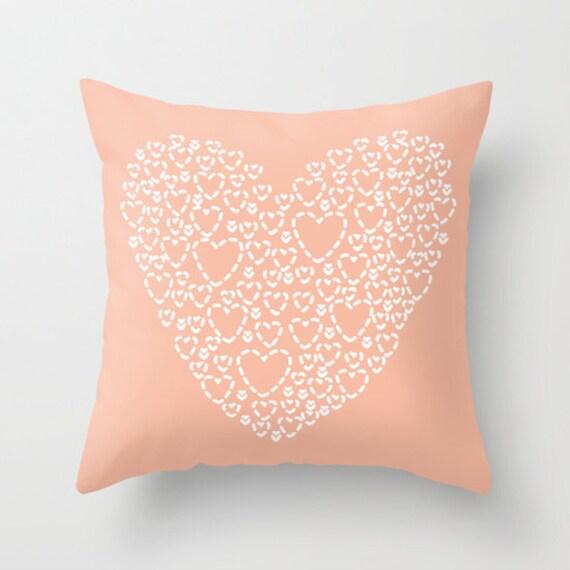 Peach Heart Pillow Cover Modern Heart Pillow Cover Hearts