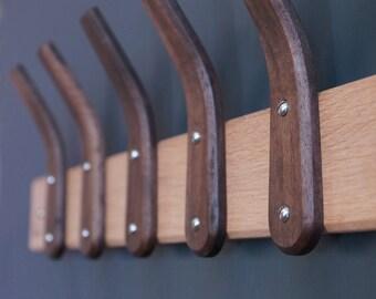Walnut Steam Bent Hooks with Oak Backboard