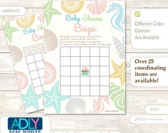 Sea Beach Bingo Game Printable Card for Baby Neutral Shower DIY grey, Sea Shell -oz89bs3
