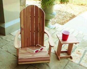 18 inch Doll Cedar Wood Adirondack Chair and Table Set/Brass Nails/American Girl Doll Adirondack Chairs/Wooden Doll Furniture/AG Beach Chair