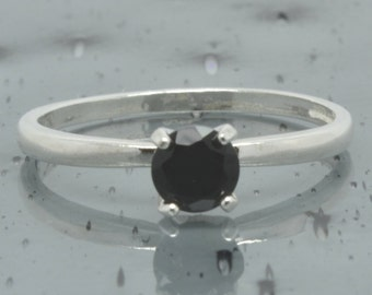 Black Onyx Ring, Sterling Silver, Size 6 Solitaire Ring, Black Stone Ring, Engagement Wedding Ring, February Birthstone, Gothic Ring, R52-6