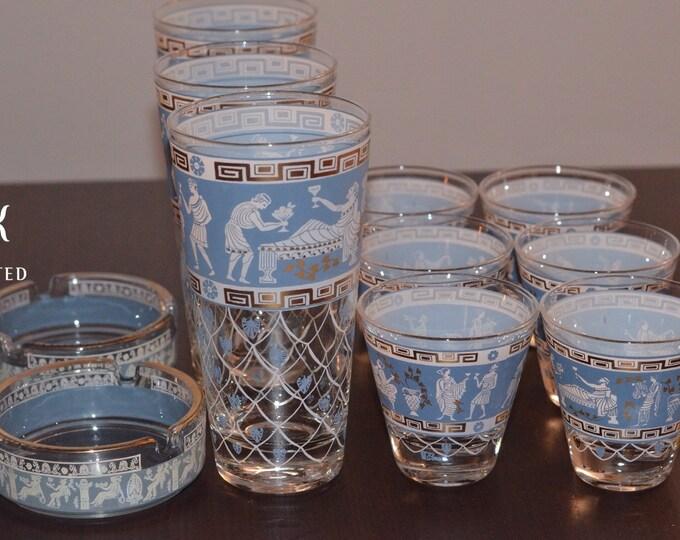 Vintage Estate Jeanette Hellenic Mid Century Modern Blue White Gold Glassware