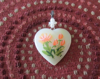 Mother of Pearl Pendant Floral Theme Handpainted Heart Pendant