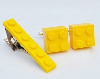 LEGO ® Brick Cufflinks and Tie Clip - YELLOW