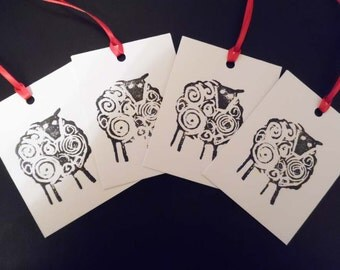 Hand printed gift tags. Black sheep gift tags.