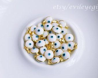 White Gold Evil Eye Pendant, Turkish Evil Eye Pendant, Greek Evil Eye Pendant, Sterling Silver (Gold Plated). Arrives in white Gift Box!