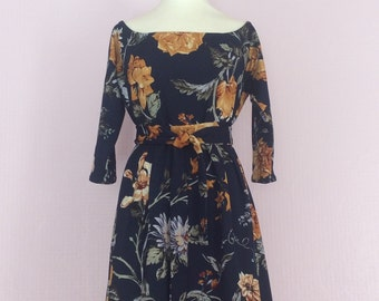 Vintage navy & yellow dress with belt