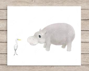 Hippo and Egret Art Print, Hippo Art Print, Hippo Nursery Decor, Zoo, Hippopotamus Art, Safari Nursery Print, Safari Decor, Baby Room Art