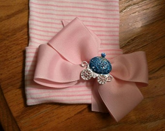 Newborn Hospital Hat Baby's 1st Keepsake Hat with Pink Bow and Blue CARRIAGE Because Every Baby Girl is a PRINCESS and Needs One!