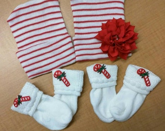 Holiday Twins! TWO NEWBORN Red/White Stripe Hospital Hats with Candy Cane Socks! Girls hat has Poinsettia Flower. Newborn Outfit. Infant Hat