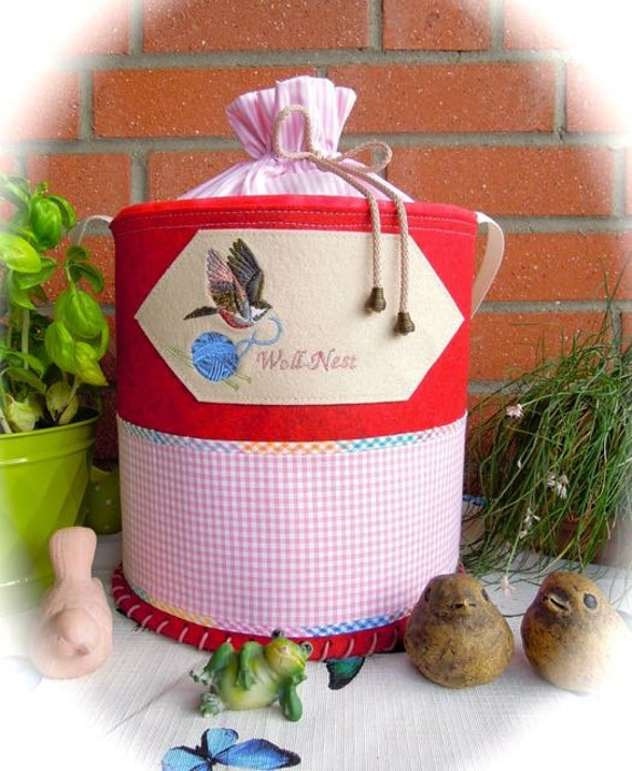 Handmade Knitting Bag Pattern : Knitting bag handmade bag felt basket knitting basket by ...