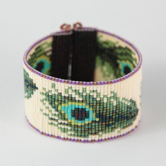 peacock feathers bead loom bracelet bohemian boho artisanal
