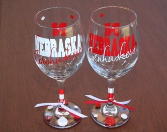Nebraska Cornhuskers Wine Glass
