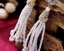 Great Gatsby GOLD Pearl Tassel Earrings Pearl Drop Earrings Wedding Bridal Swarovski Crystal Pearl Earrings Gatsby Jewelry Accessories