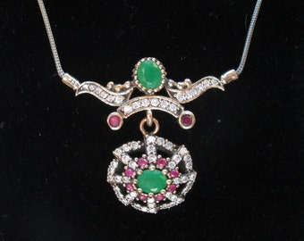 Handcrafted Deco 4.26ctw Ruby and Emerald & White Sapphire Rose Gold/925 Sterling Lavalier Necklace 14.4 G, 18 Inch Long