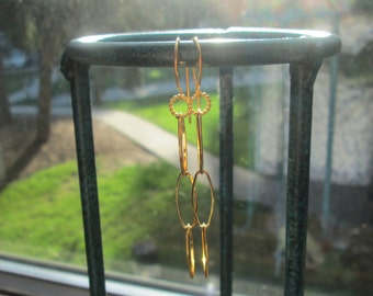 Handcrafted Dainty Sterling Silver with 18KT Gold Overlay Drop/Dangle Earrings 2 1/2 Inches Long, Wt. 1.7 Grams