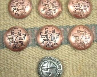 Vintage Southwest 7pc Silver Sunface Copper Knifewing Buttons-Item # 705E