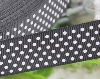 """5Y 1"""" (25mm)Wide Black With White Dots Grosgrain Ribbon for Bow Flower Making"""