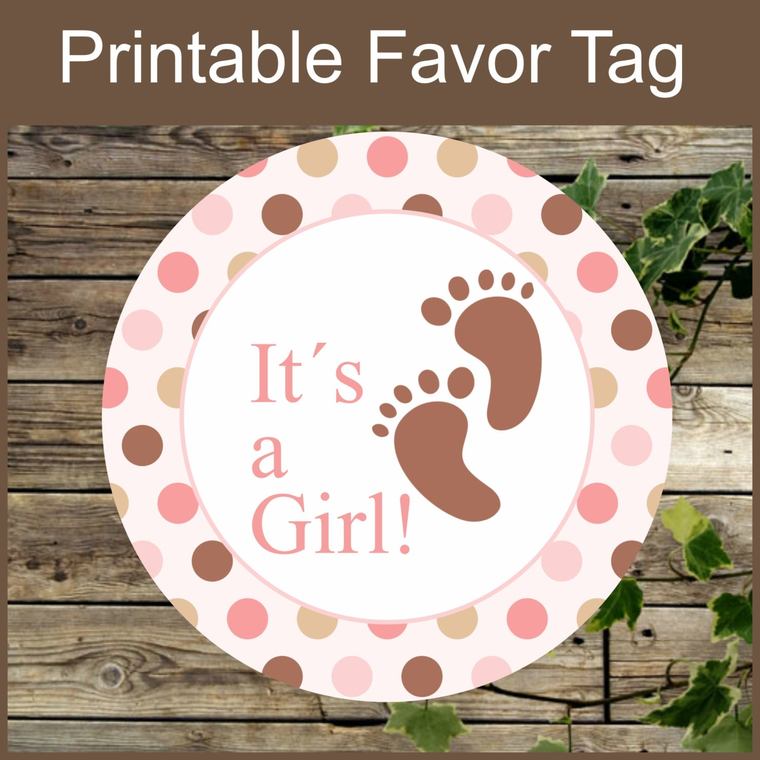 Baby shower favor tags printable pink and brown footprints tags its a girl pink favor labels for Printable baby shower favor tags