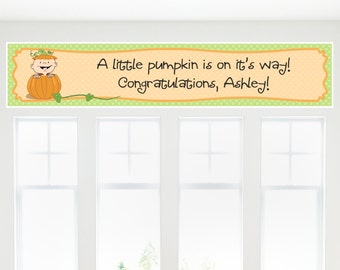Little Pumpkin Banner for Baby Shower or Birthday Party - Caucasian