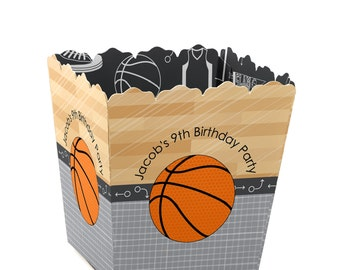 Basketball Custom Small Candy Boxes - Personalized Party Supplies for a Baby Shower, Birthday Party or Team Event - Set of 12