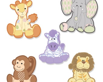 24 pc. Small Zoo Crew - Zoo Animals Paper Cut Outs - Baby Shower Die Cut Decoration Kit