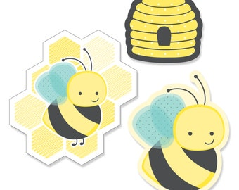 24 pc. Small Honey Bee Paper Cut Outs - Baby Shower, Birthday or Grandma-To-BEE Party Die Cut Decoration Kit